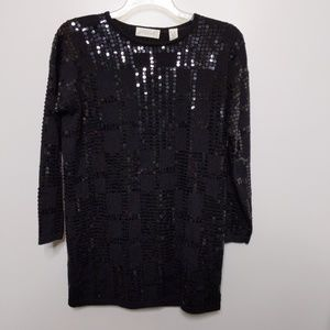 Lord & Taylor Tunic Sweater Small Black Beaded Wo